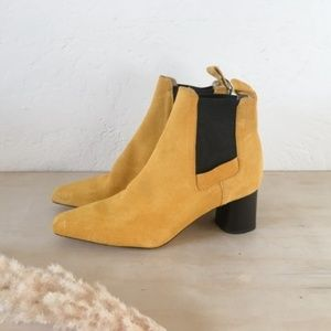 Rare Zara Mustard Yellow Suede Ankle Boots - Sz 39